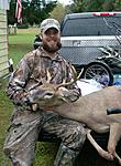 The right main beam was busted as well as the tip of the left main beam but still a good lookin buck
